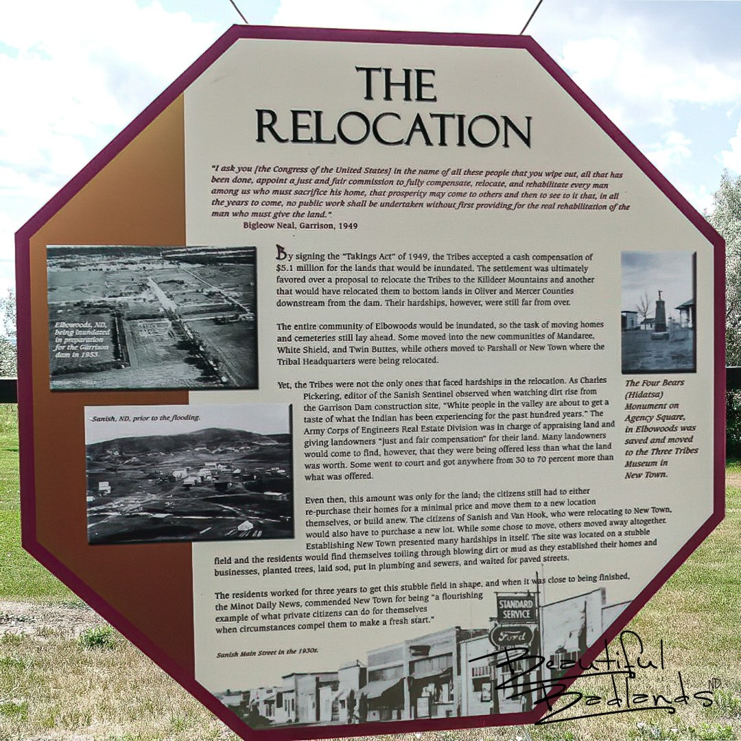 The history of the relocation of towns and populations on the Missouri River in North Dakota is displayed at the information kiosk at Indian Hills Recreation Area, west of Garrison, North Dakota.