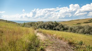 The Nux Baa Ga Trail is part of the Lewis and Clark Trail system in North Dakota. Located at the Indian Hills Recreation Area, it overlooks Lake Sakakawea from Good Bear Bay, west of Garrison.