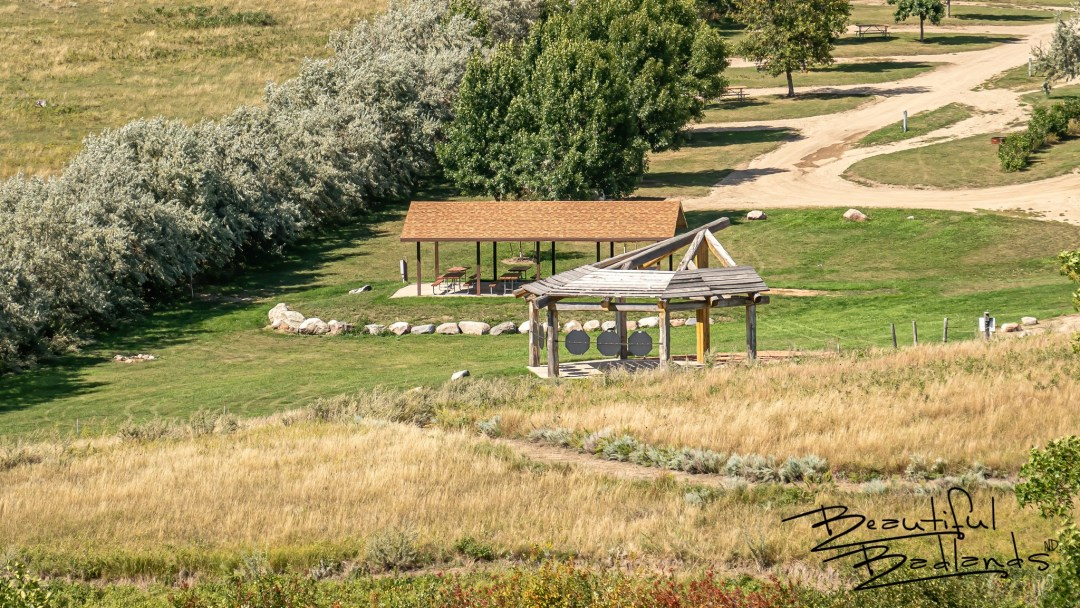 Shelters for Picnics and Historical Information, Indian Hills Recreation Area, west of Garrison, North Dakota