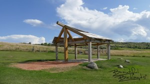 A shelter and place to engage with history is found at the trail head of the Nux Baa Ga Trail, a Lewis and Clark Legacy Trail west of Garrison, North Dakota.