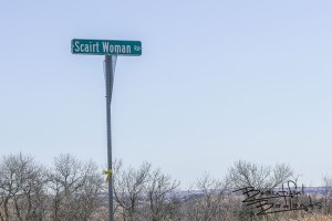 Scairt Woman Road Sign in McKenzie County, North Dakota