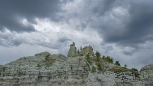 Storm clouds, looking up at Capitol Rock from the north. July 14, 2020