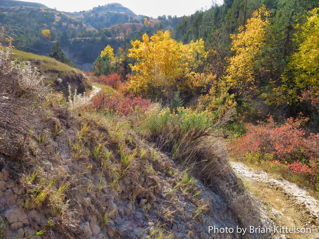 Switchbacks on the colorful Maah Daah Hey Trail accommodate steep elevation changes.