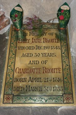 Brass tablet, marking the place where Emily and Charlotte Brontë are buried, St. Michael and all Angels Church, Haworth