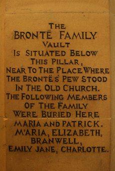 Brontë family vault engraving on pillar, St. Michael and all Angels Church, Haworth