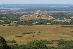 Corfe Castle and Poole Harbour, from Kingston