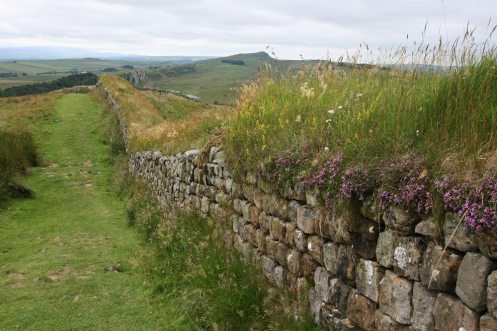 Hadrian's Wall on Hotbank Crags, looking west