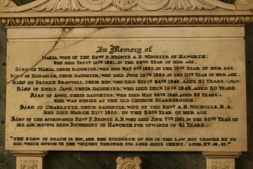 Memorial to Brontë family, St. Michael and all Angels Church, Haworth