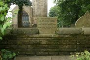 Site of the gate to the church, used by the Brontë family and through which they were carried to their final resting place, Haworth