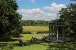 Looking towards meadows, from Magna Carta Memorial, Runnymede