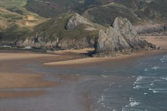 Beach, Three Cliffs Bay, from cliffs, Penmaen Burrows, Gower