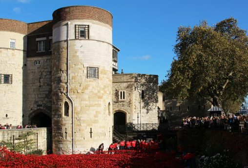 Byward Tower, poppies, Tower of London