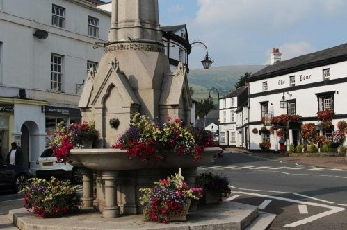 Lucas Memorial Fountain and The Bear Hotel, Crickhowell