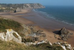 Three Cliffs Bay, from cliffs, Penmaen Burrows, Gower