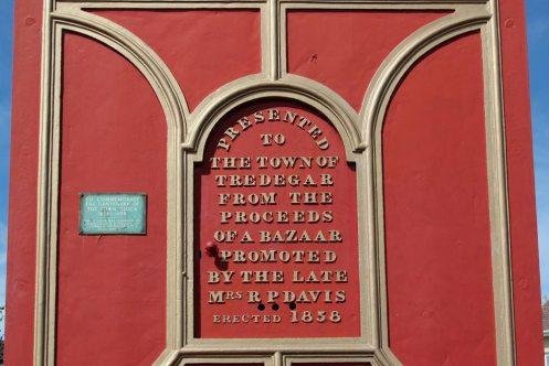 Engraving, acknowledging Mrs. R.P. Davis, Tredegar Town Clock, Tredegar