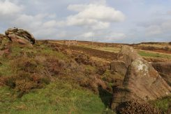 Gritstone boulders and abandoned farmhouse, The Roaches, Staffordshire Moorlands