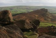 Gritstone boulders and Hen Cloud, The Roaches