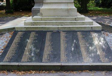Names on War Memorial, Bedwellty Park, Tredegar