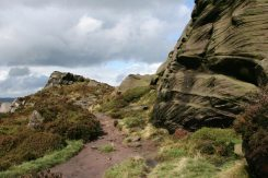 Path to Roach End, through gritstone boulders, The Roaches