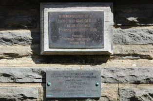Plaques on Peace Monument, Bedwellty Park, Tredegar