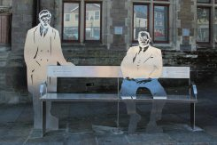 Stainless steel artwork, representing Aneurin Bevan and Walter Conway, Tredegar