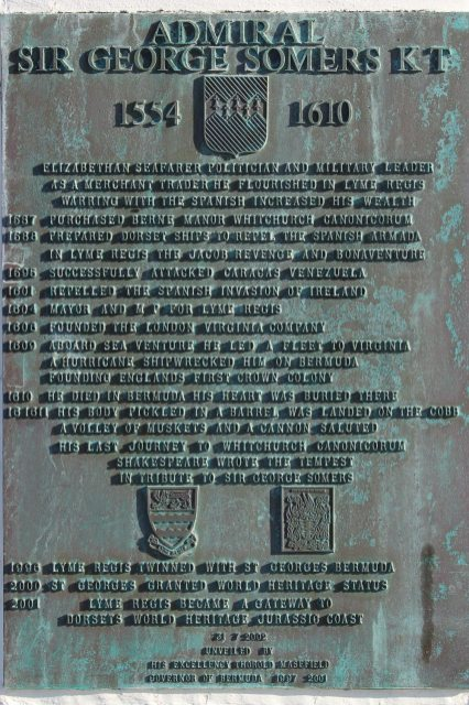 Plaque to Admiral Sir George Somers, Victoria Pier, The Cobb, Lyme Regis