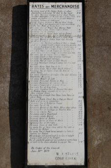 Rates on Merchandise, toll board 1879, Victoria Pier, Lyme Regis
