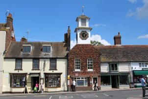 The Clock Tower and entrance to Cobblestone Walk, Steyning