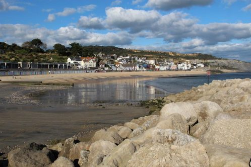 Town Beach, from North Wall of Harbour, Lyme Regis