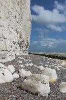 Chalk boulders and flint strata in chalk cliffs, east of Birling Gap