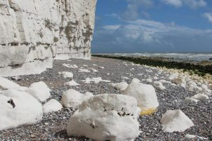 Chalk boulders and flint strata in chalk cliffs, east of Birling Gap