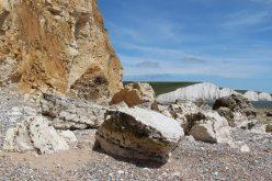 Chalk boulders and Seven Sisters, beach, Hope Gap