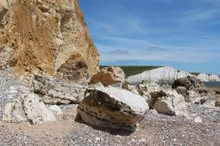 Chalk boulders and Seven Sisters, beach, Hope Gap