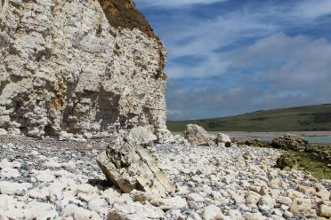 Chalk cliffs, from beach approaching Cuckmere Haven, from Hope Gap