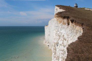 Belle Tout Lighthouse above chalk cliffs, Beachy Head