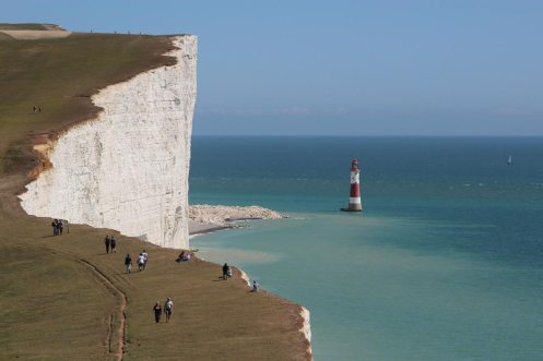 South Downs Way cliff path and Beachy Head Lighthouse