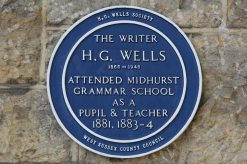 Plaque, H.G. Wells, on wall of Capron House, formerly Midhurst Grammar School, Midhurst
