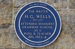 Plaque, H.G. Wells, on wall of Capron House, formerly Midhurst Grammar School, Midhurst