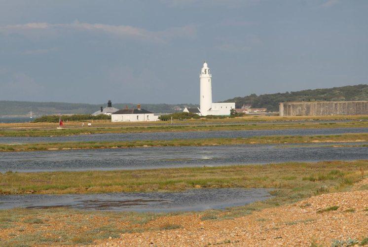 Hurst Lighthouse, from Hurst Spit, Milford-on-Sea