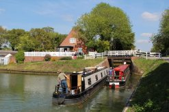 Narrowboats, Caen Hill Cafe, Kennet and Avon Canal, Devizes