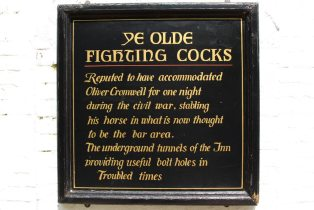 Plaque marking the stay of Oliver Cromwell at Ye Olde Fighting Cocks, St. Albans
