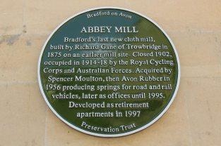 Plaque on Abbey Mill, Bradford on Avon