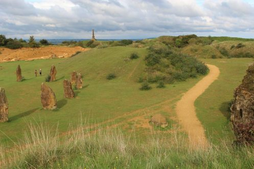 Stone Circle and path to War Memorial, Ham Hill Country Park