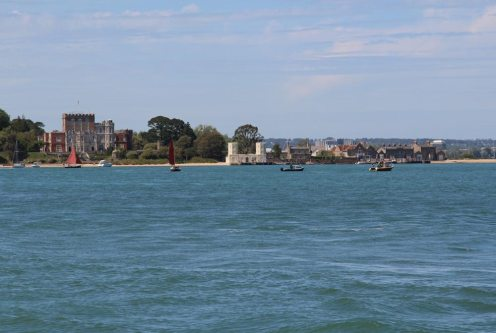 Brownsea Castle, Brownsea Island, Poole Harbour, from Shell Bay, Studland