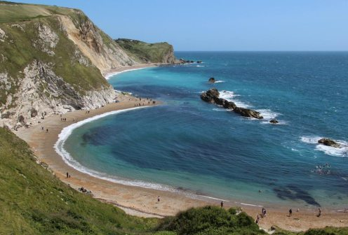 St. Oswald's Bay and Dungy Head, from cliffs above Durdle Door