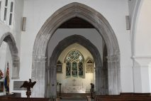 East Window and altar, St. James' Church, Shere
