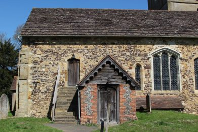 Gallery steps and South Porch, St. James' Church, Shere