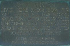 Plaque on wall of Jane Austen's House Museum, Chawton