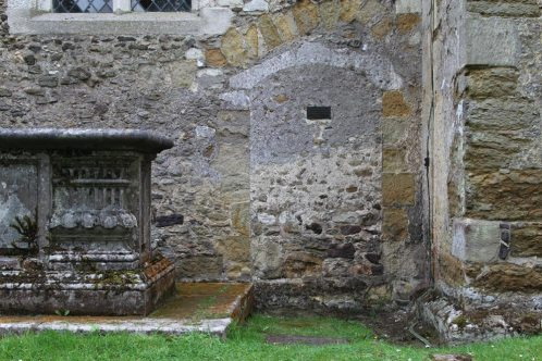 Site of cell of Christine Carpenter, Anchoress of Shere 1329, north wall, St. James' Church, Shere