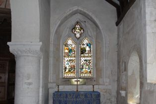 Stained glass window, South Aisle, St. Nicholas Church, Compton
